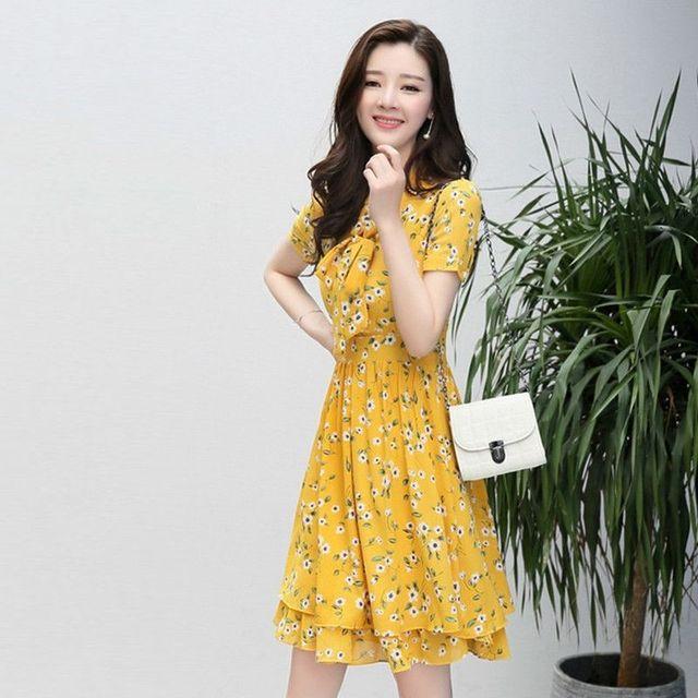 Đầm Xòe Hoa Mai Vàng 2 Lớp Cột Nơ có size XL